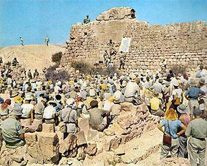 Israel Exploration Society - Israel Exploration Society meeting at Shivta, Israel,  1950s