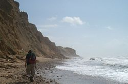 Walking on the Israel National Trail on the coast of the Mediterranean