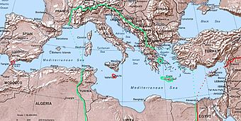 Italian biggest control of mediterranean areas (within green line & dots) in 1942. Within red the British control.