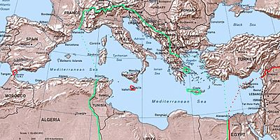 Green line shows greatest extent of Italian control of the Mediterranean, in 1942.