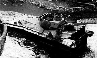 Landing Vehicle Tracked - LVT(A)-4 amtank at Iwo Jima beach, ca. February/March 1945.