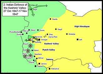 Aslam Khan (Pakistani brigadier) - Indian defence of the Kashmir Valley 27 October 1947 – 17 November 1947