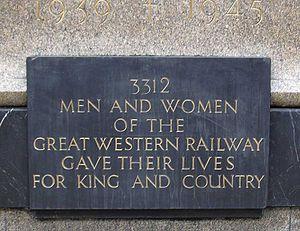 Great Western Railway War Memorial - Image: Jagger GWR memorial 3