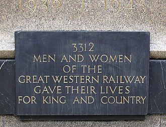 Great Western Railway War Memorial - Image: Jagger GWR memorial 3