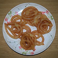 Jalebi, sweet food at Wikipedia's 16th Birthday celebration in Chittagong (01).jpg