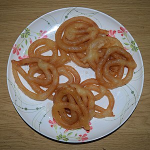 Jalebi - Image: Jalebi, sweet food at Wikipedia's 16th Birthday celebration in Chittagong (01)