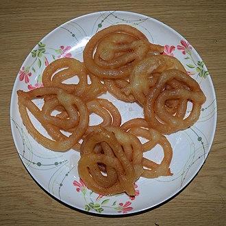 Jalebi - Image: Jalebi, sweet food at Wikipedia's 16th Birthday celebration in Chittagong (01)