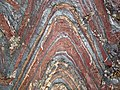 Jaspilite banded iron formation (Soudan Iron-Formation, Neoarchean, ~2.69 Ga; Stuntz Bay Road outcrop, Soudan Underground State Park, Soudan, Minnesota, USA) 6 (19225042635).jpg