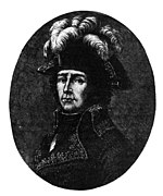 Black and white print of a man wearing a dark military coat and a bicorne hat with gaudy plumes.