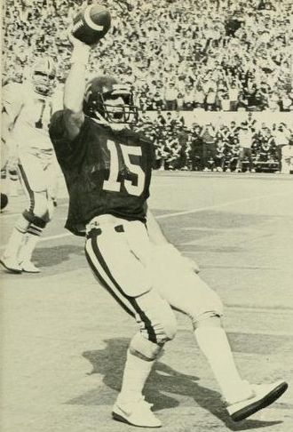 Backyard Brawl - West Virginia University football quarterback Jeff Hostetler scoring a touchdown against the University of Pittsburgh.