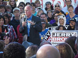 "2008 California Proposition 8 - As California State Attorney General, Jerry Brown (shown here campaigning for Governor in 2010) had the ballot's description and title changed from ""Limit on Marriage"" to ""Eliminates the right of same-sex couples to marry"""