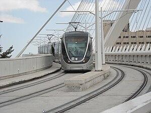 Red Line (Jerusalem Light Rail) - Light Rail on Chords Bridge