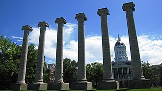 The Columns (Columbia, Missouri) - The six Ionic columns in front of Jesse Hall