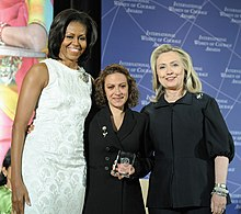 Jineth Bedoya Lima with Hillary Rodham Clinton and Michelle Obama at 2012 IWOC Award cropped.jpg