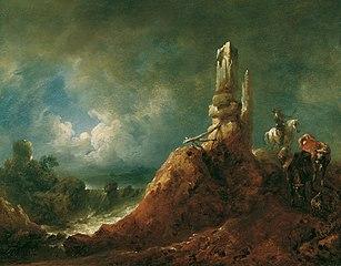 Landschaft mit Ruine und Reiter bei Mondschein