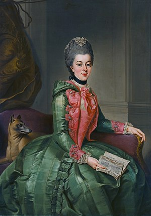 Wilhelmina of Prussia, Princess of Orange - Painting by Johann Georg Ziesenis (1768-69)