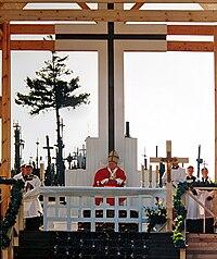 Visita del papa Juan Pablo II a la colina en 1993.