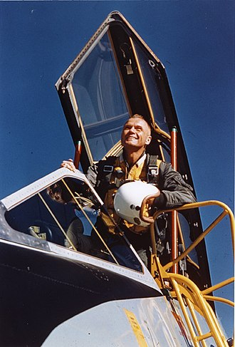 John Glenn - John Glenn sitting in the cockpit of a jet aircraft at the U.S. Navy Test Station at Patuxent River, Maryland, 1954.