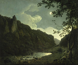 <i>Dovedale by Moonlight</i> painting by Joseph Wright of Derby