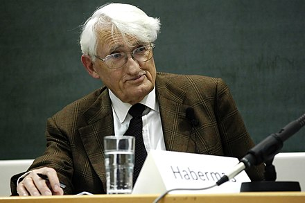 Photograph of Jurgen Habermas, whose theory of discourse ethics was influenced by Kantian ethics JuergenHabermas.jpg