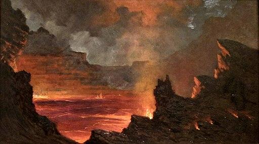 Jules Tavernier - 'Halema'uma'u Crater, Kilauea Volcano', 1887, Isaacs Art Center