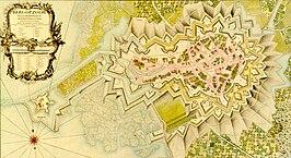 Vesting Bergen op Zoom. In kaart gebracht in opdracht van de Franse Generaal Löwenthal, gedurende de belegering in 1747.