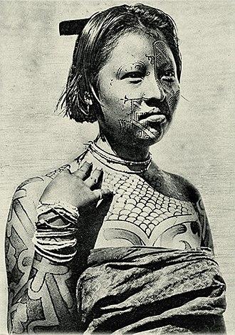 Mbayá - Kadiwéu girl in Brazil about 1892.