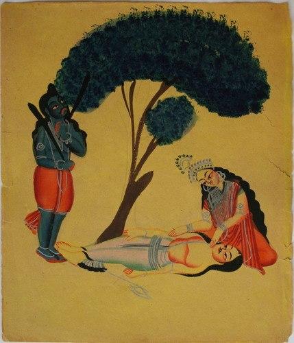 Kalighat Savitri begs Yama not to take Satyaban