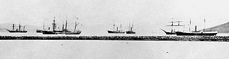 Japan–Korea Treaty of 1876 - The Imperial Japanese Navy, in Pusan, on its way to Ganghwa Island, Korea, January 16th, 1876. There were 2 warships (Nisshin, Moshun), 3 troop transports, and one liner for the embassy led by Kuroda Kiyotaka.