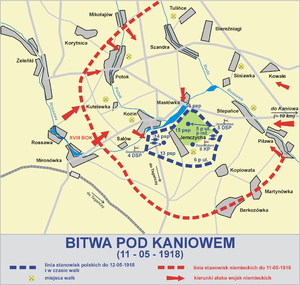 Battle of Kaniów - Map of the battle