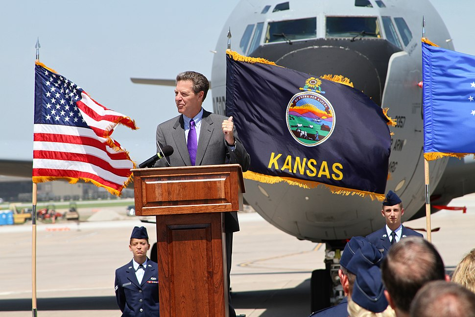 Kansas Governor Sam Brownback makes remarks at a ground breaking ceremony at McConnell Air Force Base