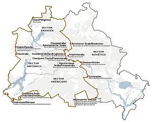 Recorrido del Muro de Berlín y puestos fronterizos (1989)