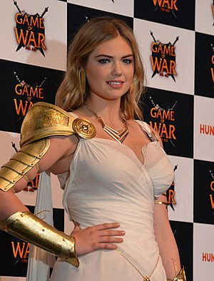 Game of War: Fire Age - Kate Upton in 2014, promoting the game dressed as Athena.