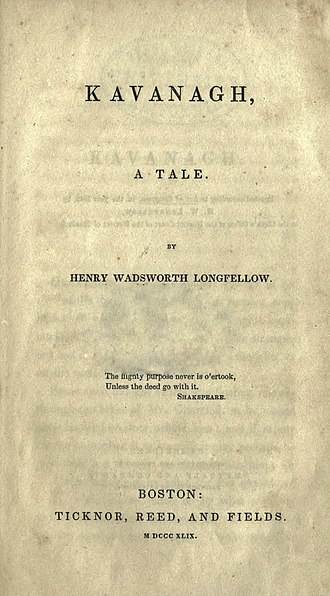 Kavanagh (novel) - First edition title page