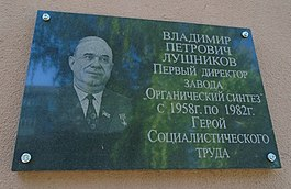 Kazan Petrochemical College - Lushnikov plague.JPG