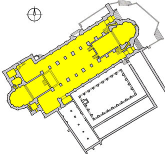 Bamberg Cathedral - Plan of the cathedral, showing the two choirs at both ends of the nave.