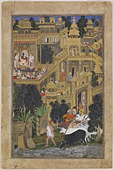 Krishna and the Golden City of Dwarkafrom the Harivamsha (Geneology of Vishnu)
