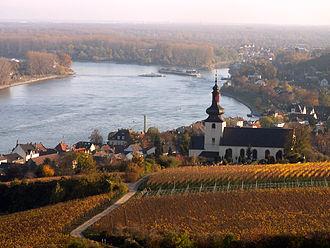 "Rheinhessen (wine region) - View from the ""Red Slope"" towards Saint Kilian's Church, Nierstein"