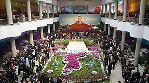 Day of the Sun - A flower exhibition of Kimilsungias on the Day of the Sun at the Kimilsungia-Kimjongilia Exhibition House