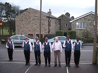 Kirkburton - Kirkburton Rapier Dancers outside the Junction public house, Kirkburton, New Year's Day 2006