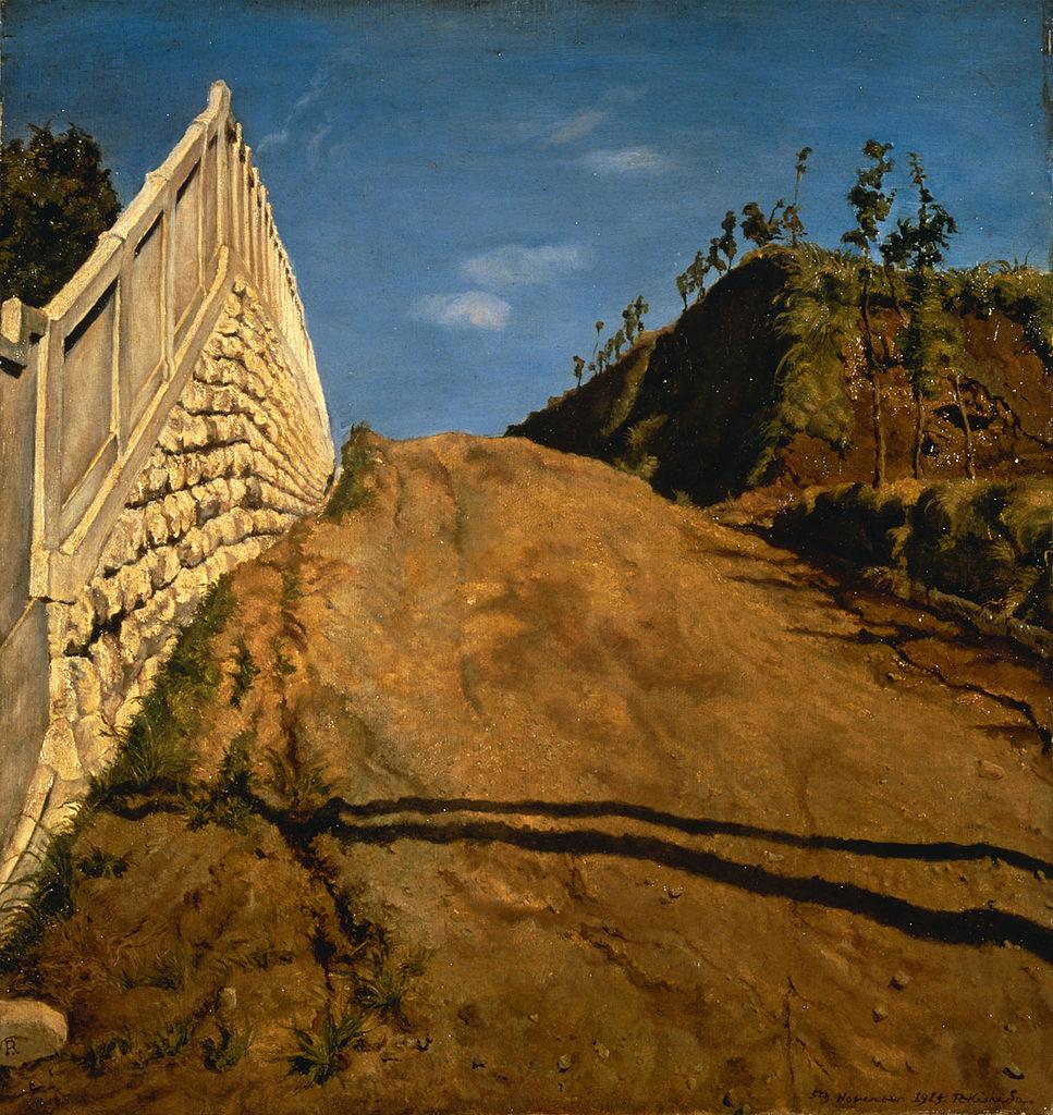 道路と土手と塀(切通之写生)Wikipediaより