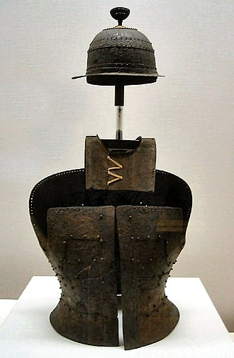 Military history of Japan - Iron helmet and armour with gilt bronze decoration, Kofun era, 5th century. Tokyo National Museum.