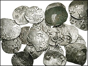 Karshapana - Kosala karshapanas. Circa 525-465 BC. Average diameter 25mm, average weight 2.70 gm. Each piece with a variety of separate punch-marks applied to both sides.
