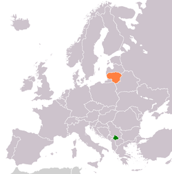 Map indicating locations of Kosovo and Lithuania