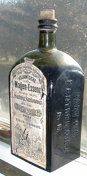 "Bitters - An old bottle of ""Kuyavian Stomach Essence,"" a bitters from Posen, Germany (now Poznań in Poland)."