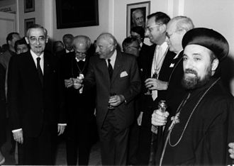 Kurt Aland - Kurt Aland's 70th Birthday from left to right: Kurt Aland, Hermann Kunst, President of Germany Walter Scheel, Wilfried Schlüter, Eduard Lohse, Archbishop Mor Julius Yeshu Cicek