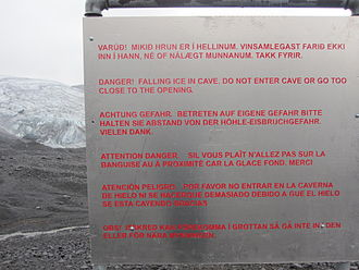 Kverkfjöll - Warning text about the caves
