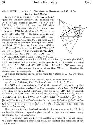 The Ladies' Diary - Extract from the 1826 Ladies' Diary, giving geometric and analytic proofs for Napoleon's theorem