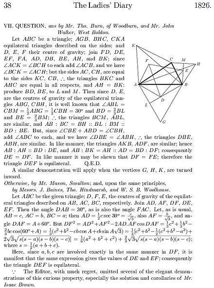 Extract from the 1826 Ladies' Diary giving geometric and analytic proofs LadiesDiary 1826 p38.jpg