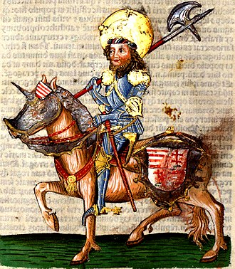 Coloman, King of Hungary - Coloman's uncle Ladislaus depicted in the Chronica Hungarorum